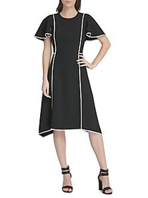 Donna Karan Ruffle Sleeve A-Line Dress BLACK