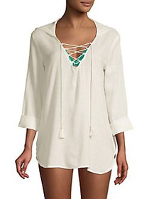 Billabong Lace-Up Cotton-Blend Hooded Coverup Tuni