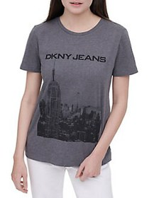 Dkny Jeans City Graphic Embellished Logo Tee DARK