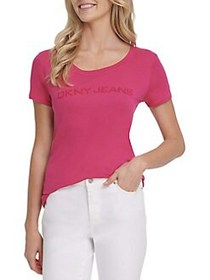 Dkny Jeans High-Low Cotton-Blend Top ORCHID