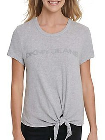 Dkny Jeans Knotted Front Logo Cotton Tee LIGHT GRE
