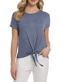Dkny Jeans Front-Knot Top BALI BLUE