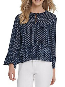 Dkny Jeans Printed Ruffled Top INK IVORY