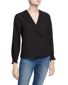Neiman Marcus Long-Sleeve Blouse with Asymmetric F