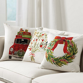 Watercolor Holiday Pillow Cover