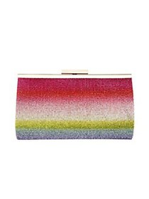 Nina Windsor Rainbow Crystal Frame Clutch RAINBOW