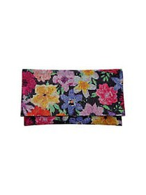 Nina Minerva Floral Crystal Clutch BLACK MULTI
