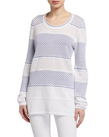 Neiman Marcus 2-Tone Mixed Stitch Long-Sleeve Pull