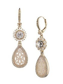 Marchesa Goldtone, Plastic Pearl & Crystal Drop Ea
