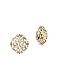 Marchesa Filigree Button Goldtone Stud Earrings GO