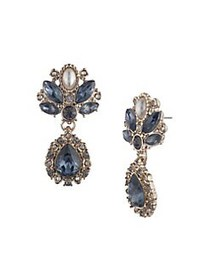 Marchesa Goldtone, Crystal & Faux Pearl Drop Earri
