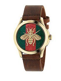Gucci G-Timeless Embroidered Bee Goldtone Stainles