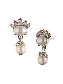 Marchesa Goldtone, Faux Pearl & Crystal Drop Earri