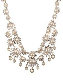 Marchesa Goldtone, Faux Pearl & Crystal Collar Nec