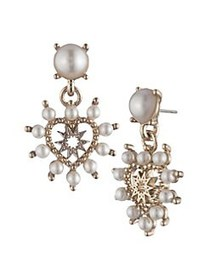 Marchesa Goldtone, Faux Pearl & Glass Crystal Drop