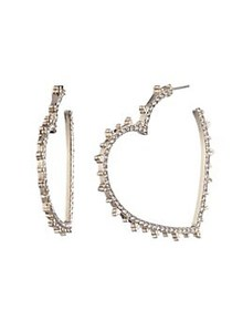 Marchesa Heart Goldtone & Crystal Hoop Earrings GO