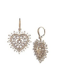Marchesa Heart Goldtone, Faux Pearl & Crystal Drop