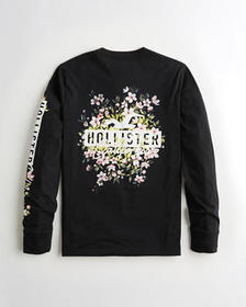 Hollister Print Floral Logo Graphic Tee, BLACK