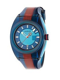 Gucci Sync Stainless Steel Striped Rubber Watch BL