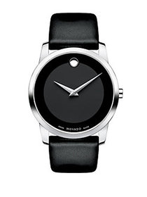 Movado Museum Classic Stainless Steel Leather Band