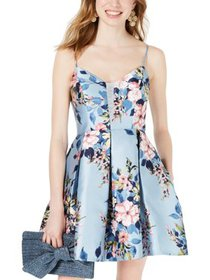 Teeze Me Womens Juniors Floral Print Fit & Flare P