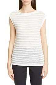Theory Striped Boatneck Knit Top