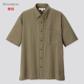Men Seersucker Checkeded Short-Sleeve Shirt (Jw An