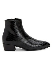Aquatalia Fuoco Snake-Printed Leather Booties BLAC