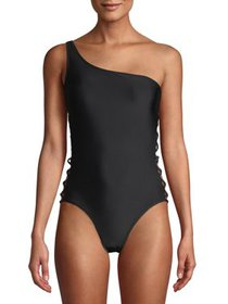 XOXO Womens Cage One-Shoulder One-Piece Swimsuit