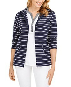 Striped Zippered Hoodie, In Regular and Petite, Cr
