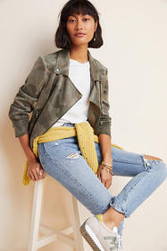 Anthropologie Marrakech Camo Sueded Moto Jacket