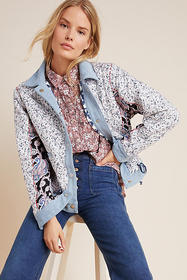 Anthropologie Denim-Trimmed Reversible Patchwork J