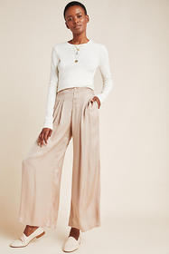 Anthropologie Pim Satin Wide-Leg Pants