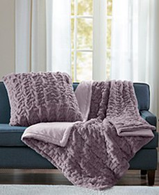 """Reversible Ruched Faux-Fur 50"""" x 60"""" Throw"""