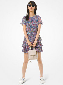 Michael Kors Floral Georgette Tiered Ruffle Dress