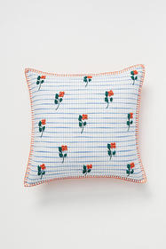 Anthropologie Embroidered Wildflower Pillow