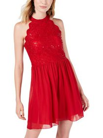 Speechless Womens Juniors Lace Sequined Party Dres