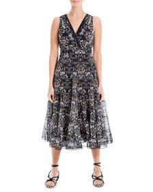 Max Studio Floral-Print Sleeveless Tiered A-Line D