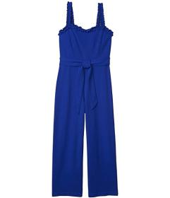 Bebe Cropped Jumpsuit with Ruffle Strap Detail