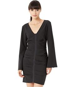 Nicole Miller Scuba Crepe Bell Sleeve Dress