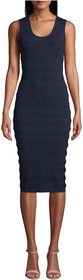Nicole Miller Solid Puckered Knit Scoop Neck Dress