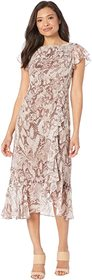 Vince Camuto Printed Chiffon Midi with Flutter Sle