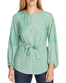 VINCE CAMUTO - Belted Pinstripe Blouse