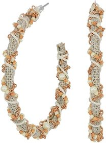 Kenneth Jay Lane Gold/White Threaded Seed Bead Pos