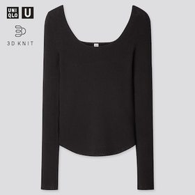 Women U 3d Round Neck Sweater, Black, Medium