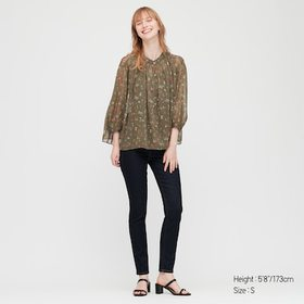 Women Joy Of Print Chiffon 3/4 Sleeve Blouse, Oliv