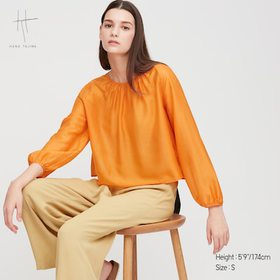 Women Crepe Gathered Long-Sleeve Blouse (Hana Taji
