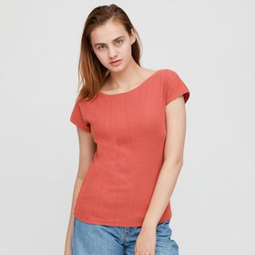 Women Ribbed Boat Neck French Sleeve T-Shirt Bra T