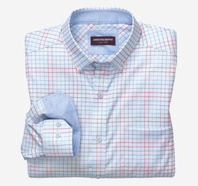 Johnston Murphy Double Line Grid Patterned Shirt