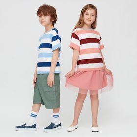 Kids Slub Striped Crew Neck Short-Sleeve T-Shirt,